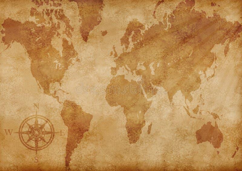 Vieille carte grunge générée par ordinateur du monde illustration stock
