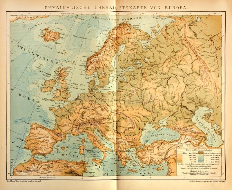 Vieille Carte Physique De L'Europe Photographie éditorial   Image