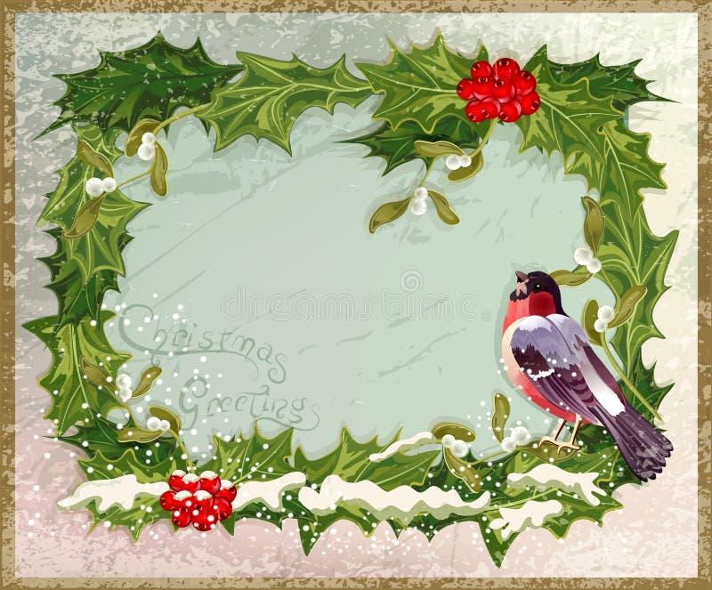 Vieille carte postale de cru avec le bullfinch illustration stock