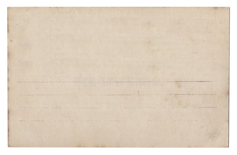 Vieille carte postale vide d'isolement sur le blanc photographie stock