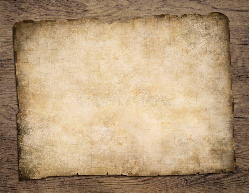 Vieille carte vide de trésor de parchemin sur la table en bois photos stock