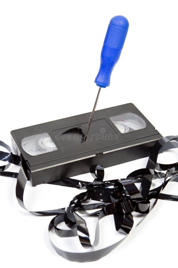 Vieille cassette criquée inutilisable de VHS photos stock