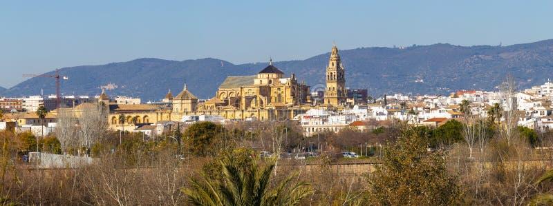 Vieille cathédrale de la Mezquita de ville de Cordoue au-dessus de rivière du Guadalquivir en Andalousie, Espagne image stock
