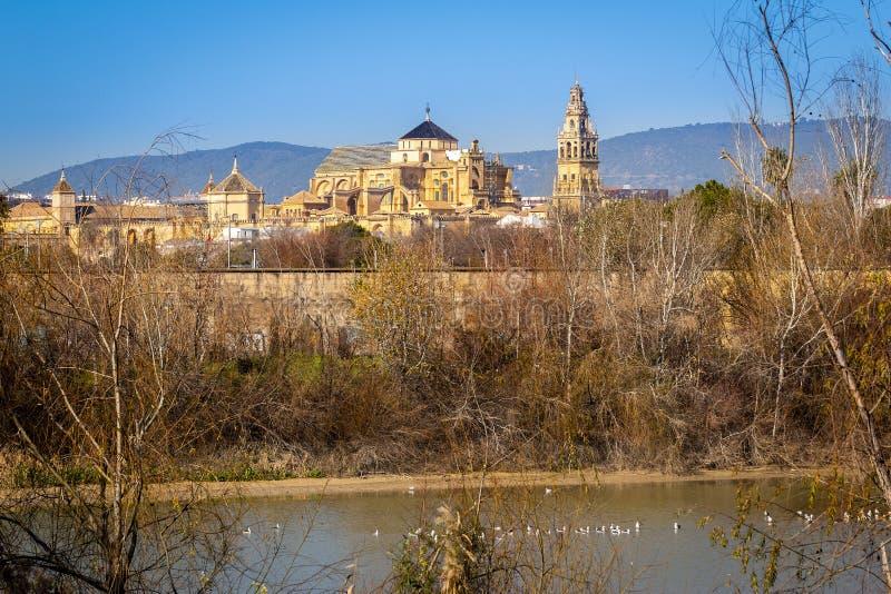 Vieille cathédrale de la Mezquita de ville de Cordoue au-dessus de rivière du Guadalquivir en Andalousie, Espagne images stock