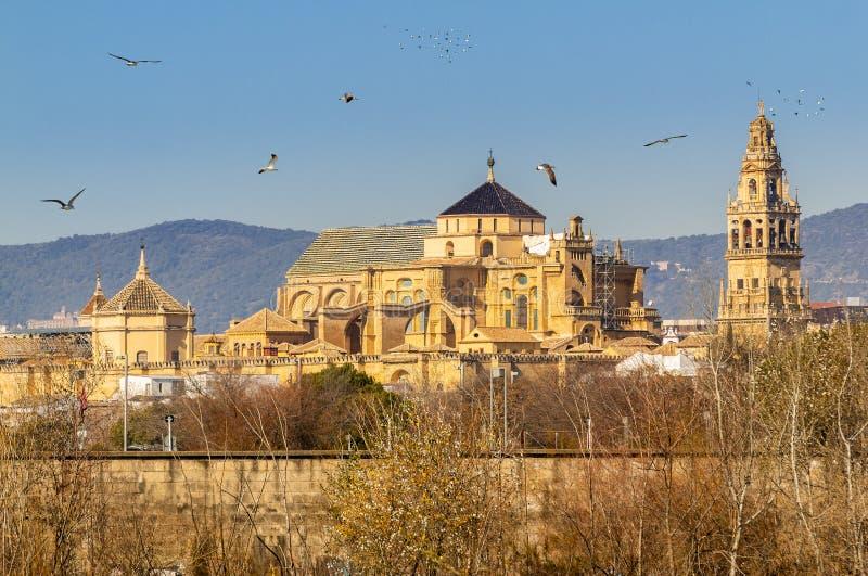 Vieille cath?drale de la Mezquita de ville de Cordoue au-dessus de rivi?re du Guadalquivir en Andalousie, Espagne photographie stock