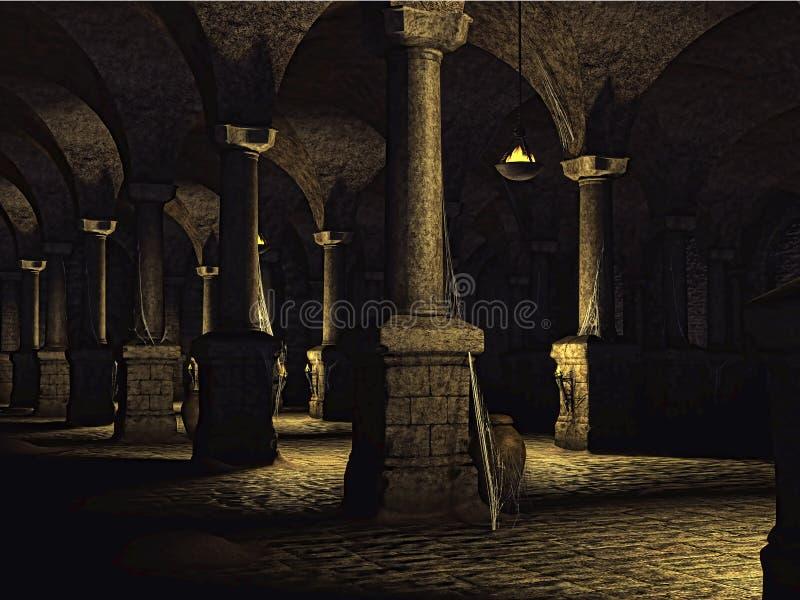 Vieille cave de château illustration de vecteur
