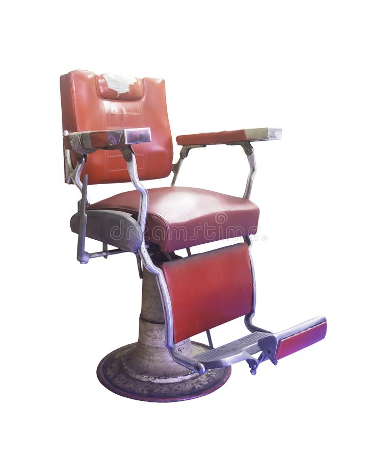 Vieille chaise de coiffeur d'isolement photo libre de droits