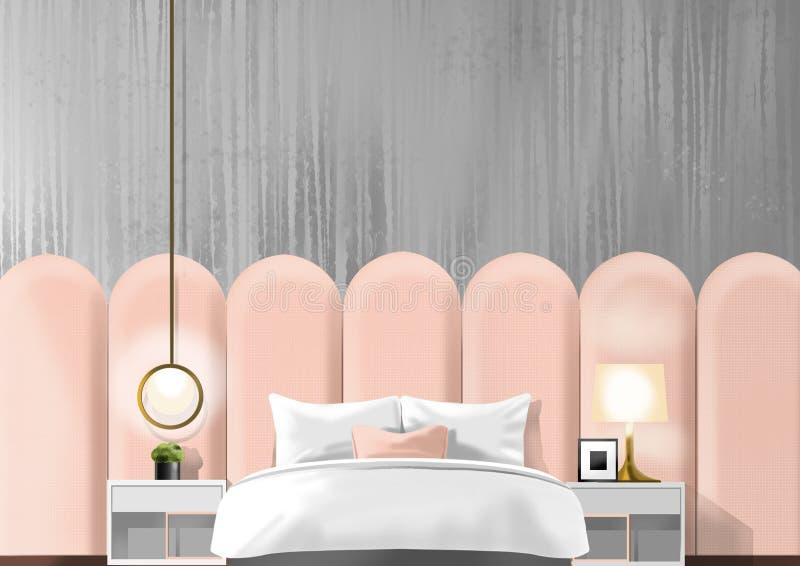 Vieille chambre à coucher rose, peinture d'illustration photos stock