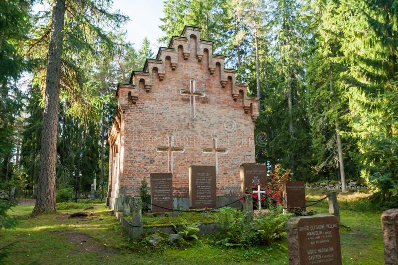 Vieille chapelle au cimetière de famille de Wrede 18 septembre 2018 - Anjala, Kouvola, Finlande photos stock