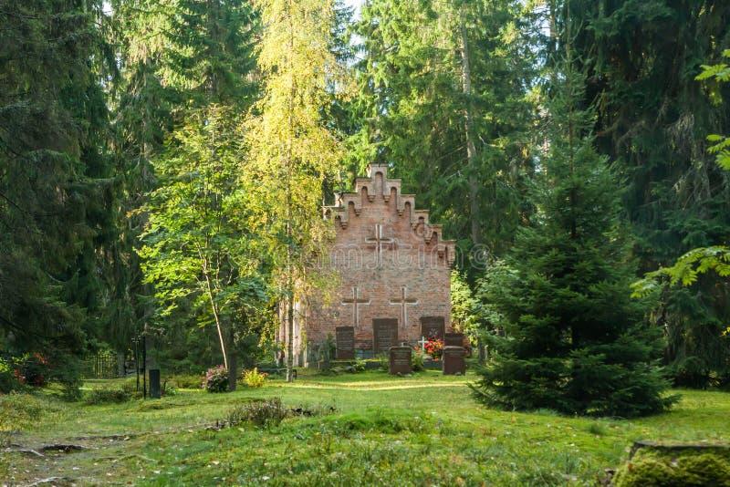 Vieille chapelle au cimetière de famille de Wrede 18 septembre 2018 - Anjala, Kouvola, Finlande photo libre de droits