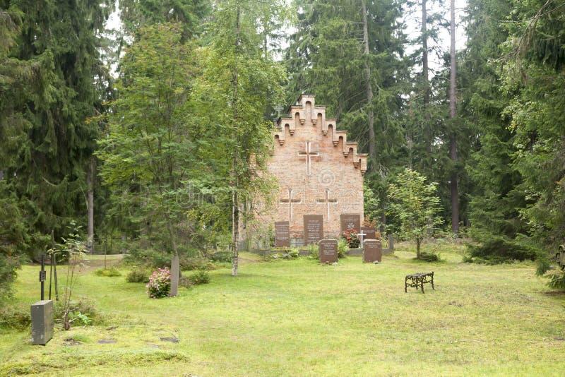 Vieille chapelle au cimetière de famille de Wrede 4 septembre 2018 - Anjala, Kouvola, Finlande image stock