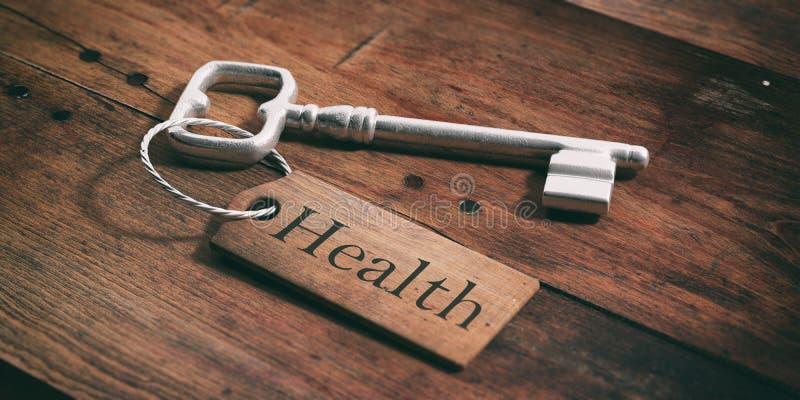 Vieille clé avec la santé d'étiquette sur un fond en bois illustration 3D illustration libre de droits