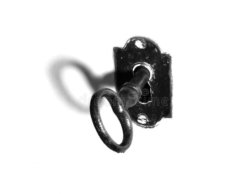 Vieille clé - noire et blanche images libres de droits