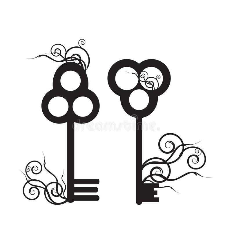 Vieille clé squelettique illustration de vecteur
