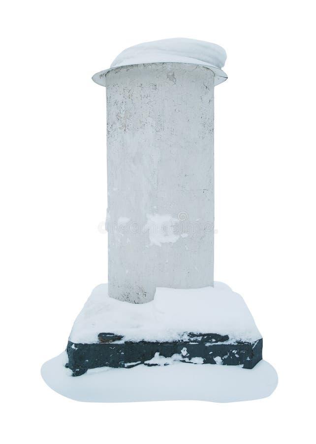 Vieille colonne de publicité avec un chapeau de neige image stock