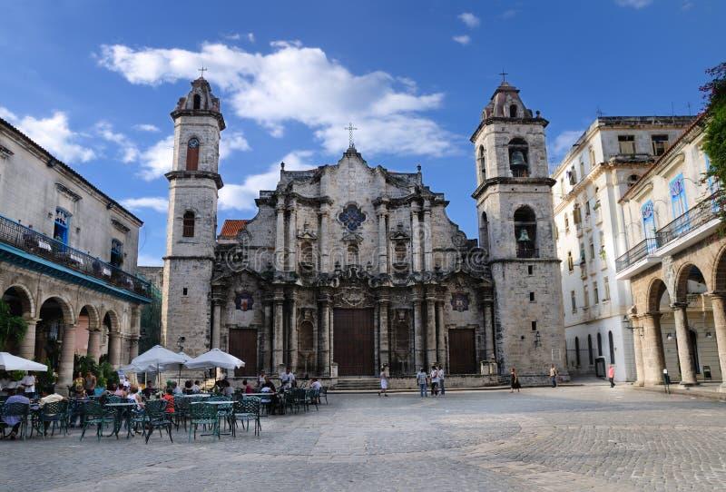 Vieille construction de cathédrale de la Havane, octobre 2008. images stock