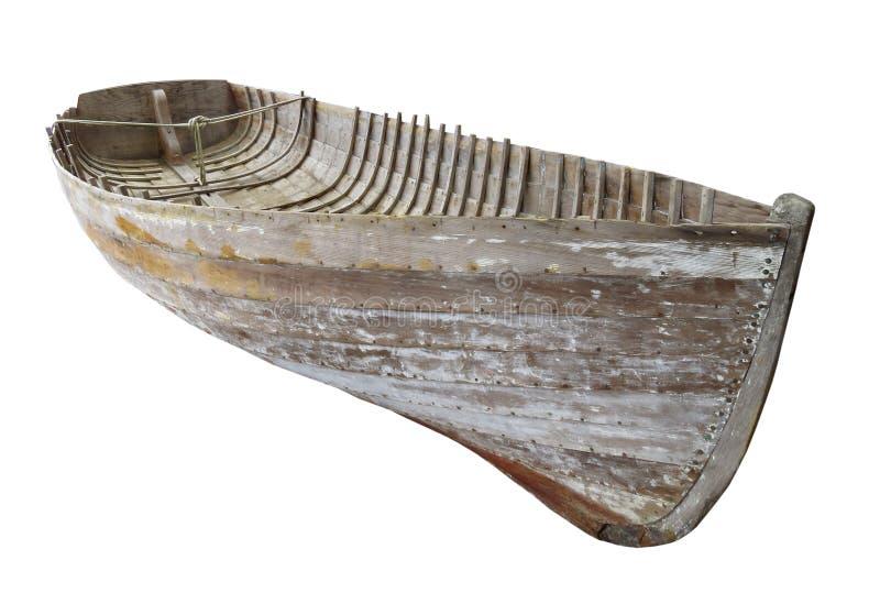 Vieille coque en bois de bateau d'isolement photos libres de droits