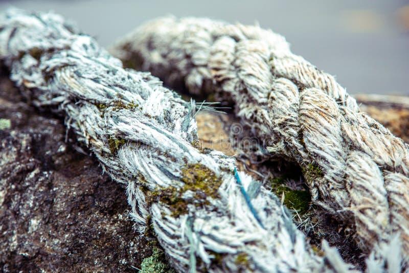 Vieille corde de bateau usée enroulée autour du poteau rouillé photos libres de droits