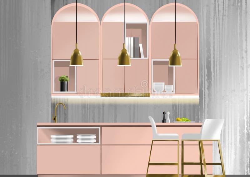 Vieille cuisine rose, peinture d'illustration, peinture d'illustration images libres de droits