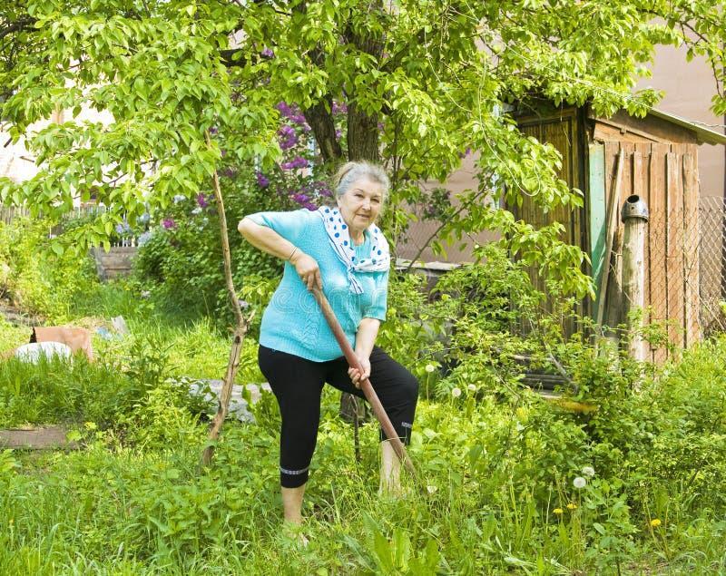 Vieille dame dans le jardin photo libre de droits