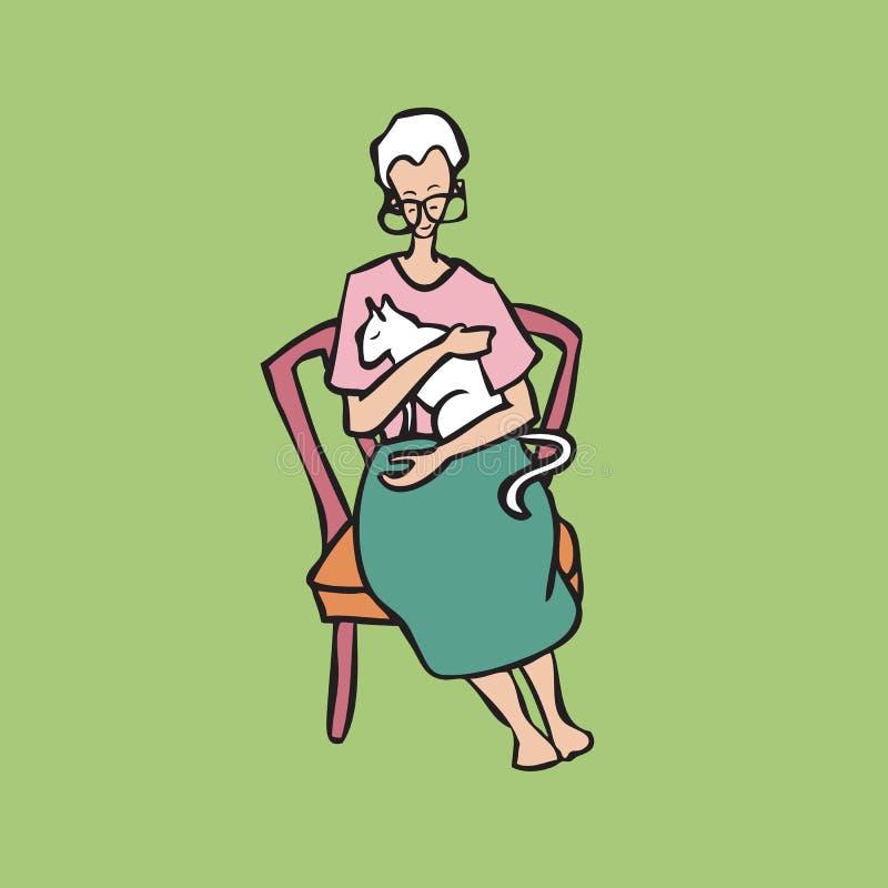 Vieille dame tenant le chat blanc illustration libre de droits