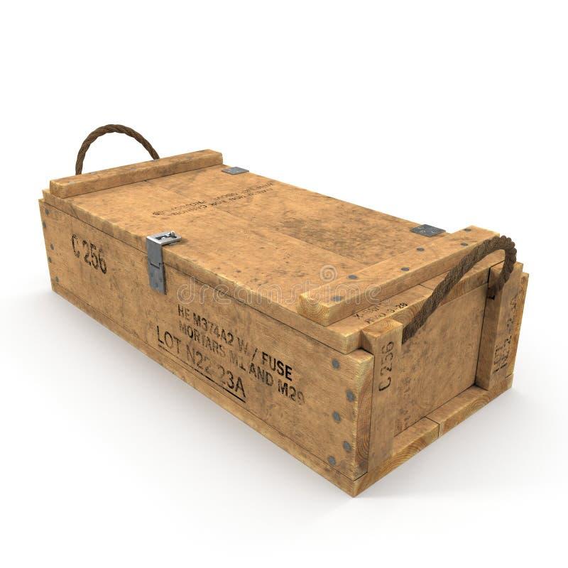 Vieille douille de munitions en bois sur le blanc illustration 3D illustration stock