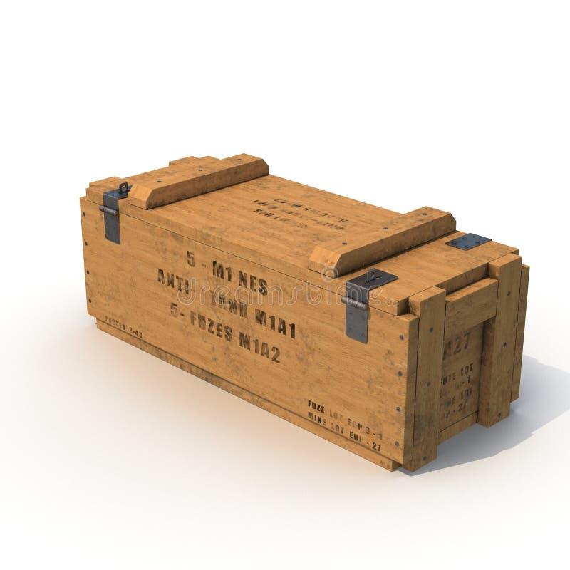 Vieille douille de munitions en bois sur le blanc illustration 3D illustration libre de droits