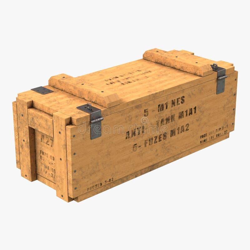 Vieille douille de munitions en bois sur le blanc illustration 3D illustration de vecteur