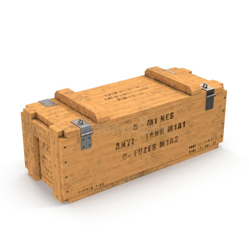 Vieille douille de munitions en bois sur le blanc illustration 3D illustration de vecteur