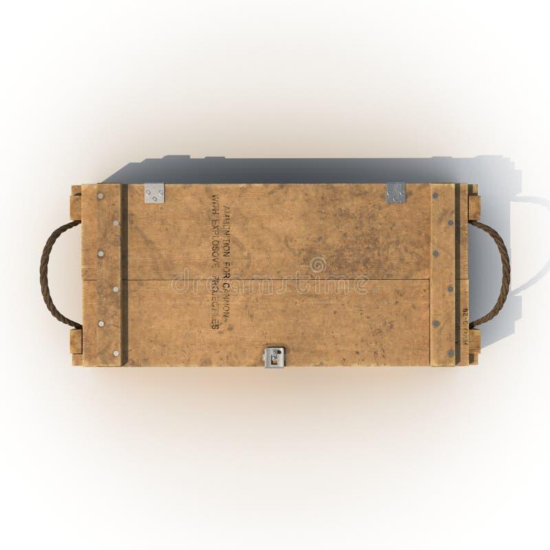 Vieille douille de munitions en bois sur le blanc Vue supérieure illustration 3D illustration stock