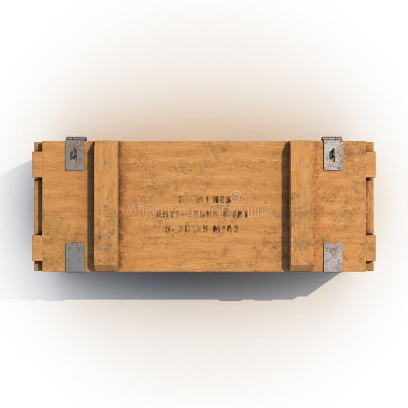 Vieille douille de munitions en bois sur le blanc Vue supérieure illustration 3D illustration de vecteur