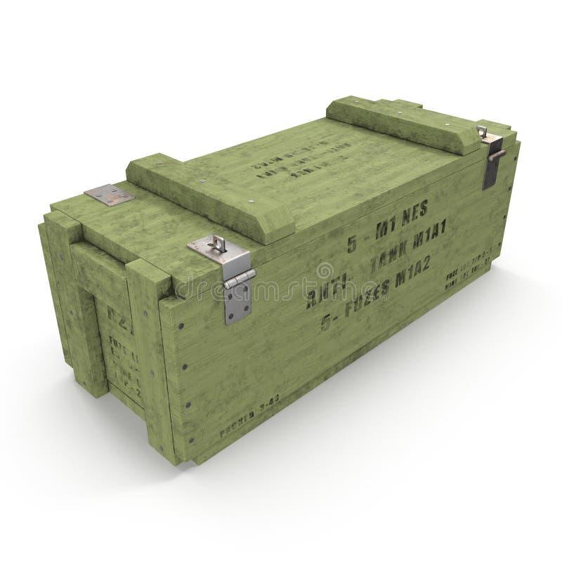 Vieille douille de munitions en bois verte sur le blanc illustration 3D illustration libre de droits