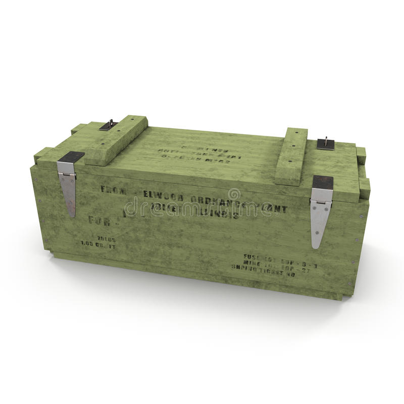 Vieille douille de munitions en bois verte sur le blanc illustration 3D illustration stock