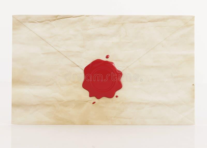 Vieille enveloppe avec le sceau de cire illustration libre de droits