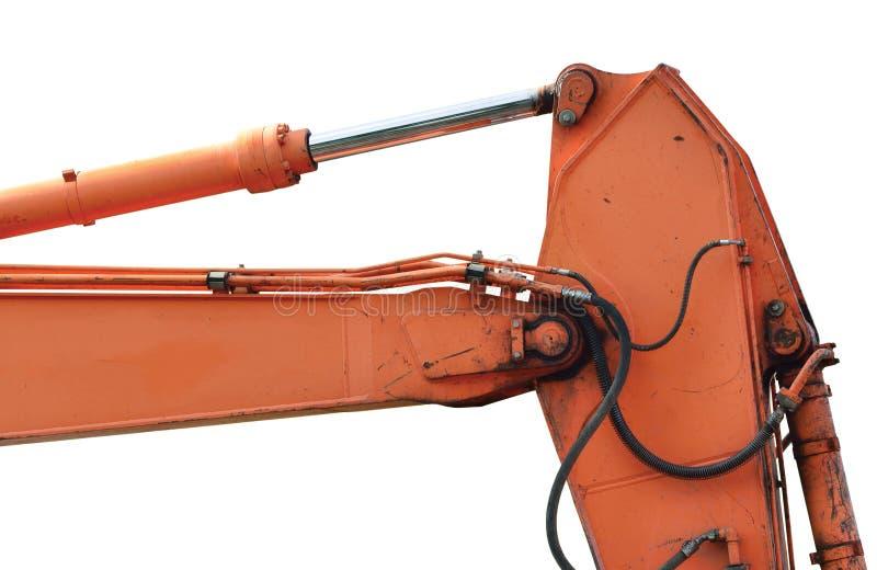 Vieille excavatrice générique Dipper Boom Bucket Ram Horizontal Closeup, détails superficiels par les agents âgés d'isolement de  image libre de droits