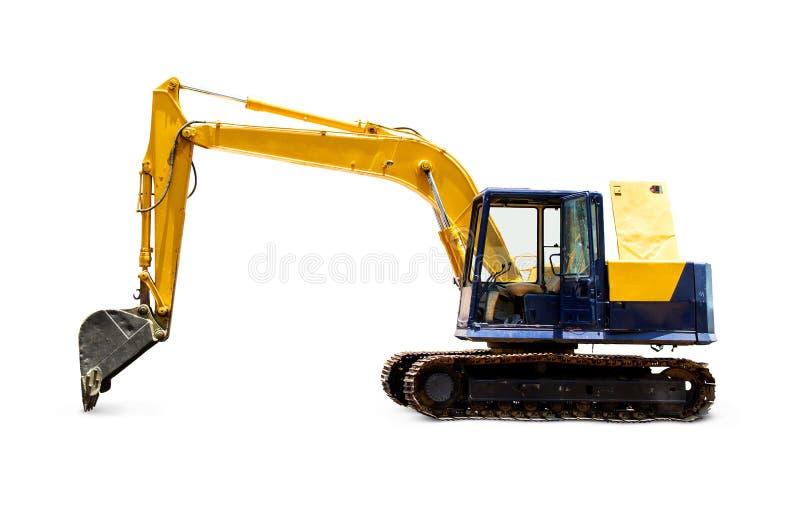 Vieille excavatrice ou pelle rétro au stationnement et à la porte ouverte photos stock