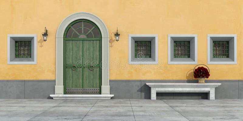 Vieille façade avec la porte illustration de vecteur