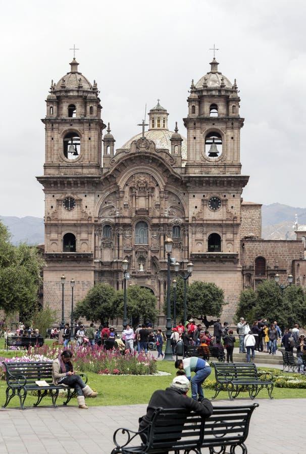 Vieille façade d'église catholique dans Cuzco Pérou photos libres de droits
