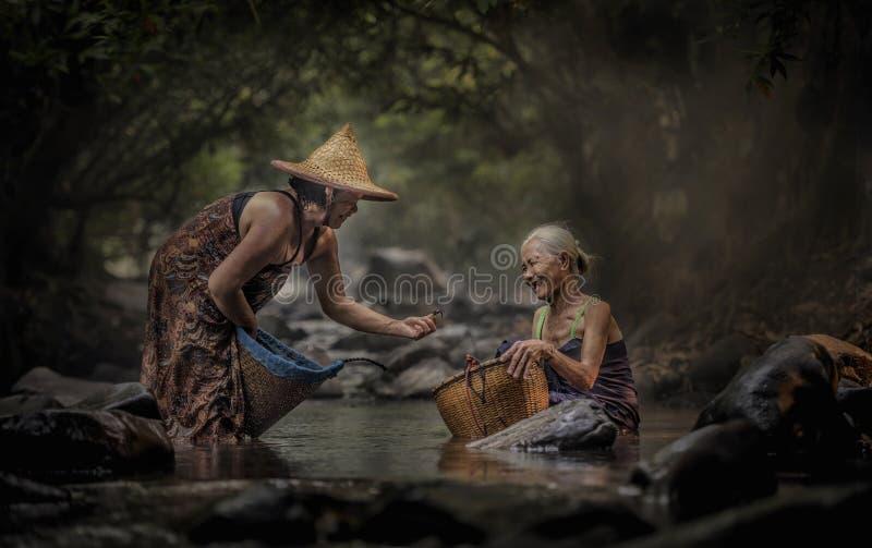 Vieille femme asiatique travaillant en cascade images libres de droits