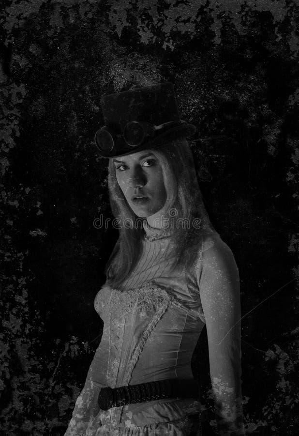 Vieille femme de Steampunk de photographie de vintage photo stock