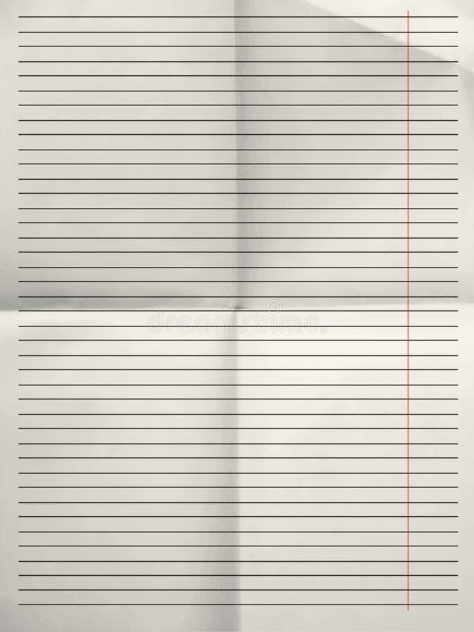 Vieille feuille de fond de papier rayé avec la marge photographie stock