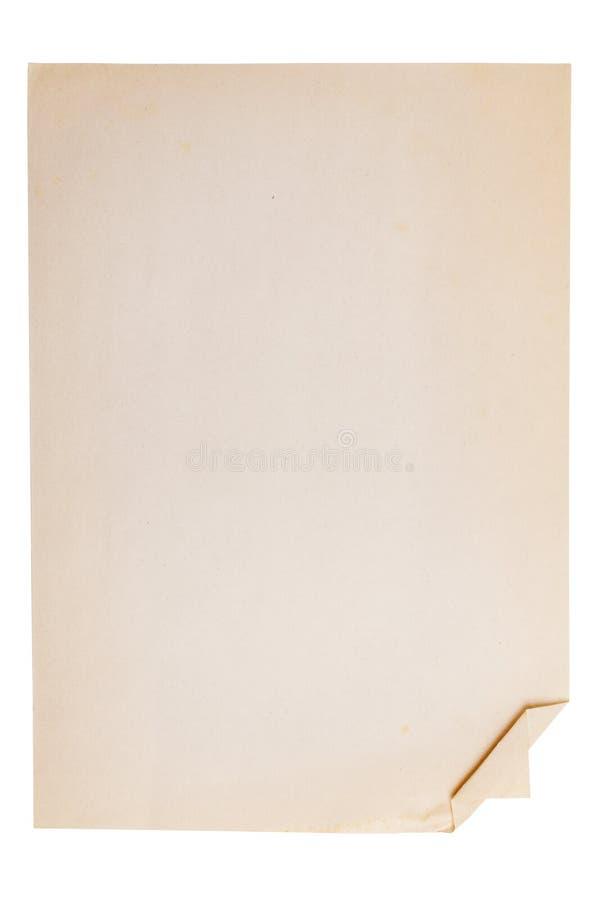 Vieille feuille de papier à lettres avec un coin coudé photos stock