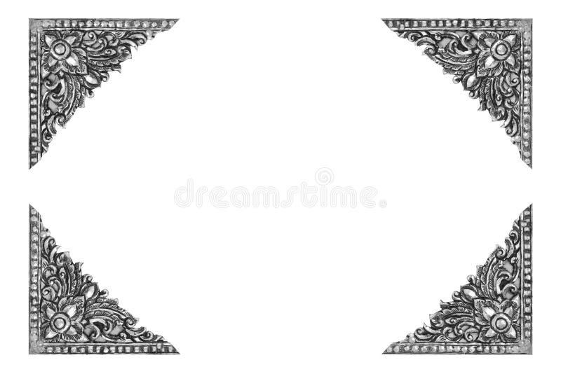 Vieille fond argenté gravé de cadre par antiquité décorative image libre de droits
