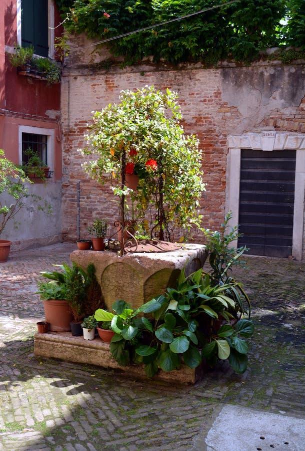 Vieille fontaine à Venise, colonnes de brique, en Europe images libres de droits