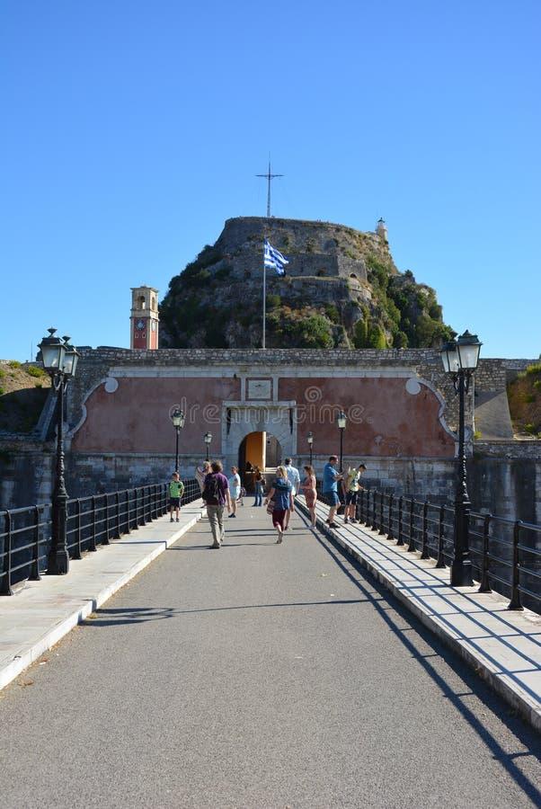 Vieille forteresse, de ville de Corfou image libre de droits