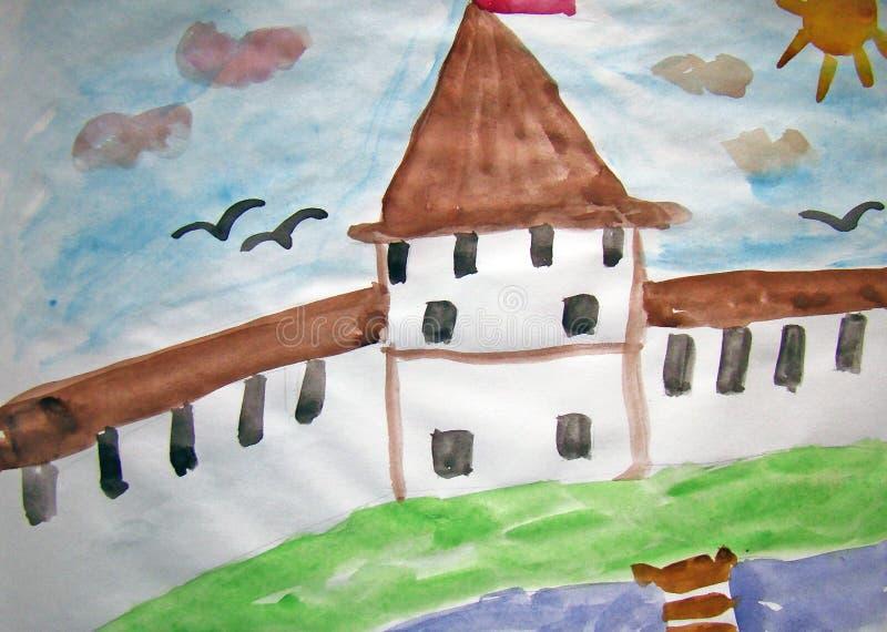 Vieille forteresse peinte par l'enfant illustration stock