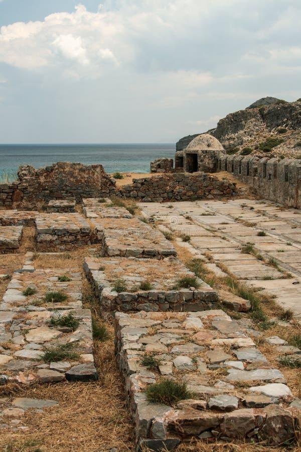 Vieille forteresse vénitienne sur l'île de Spinalonga, Crète, Grèce photos stock