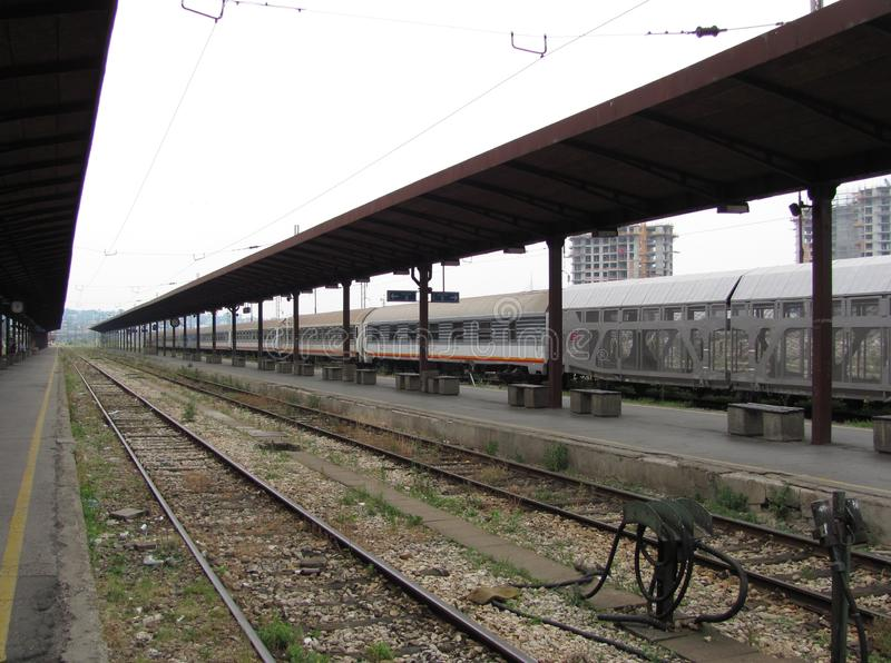 Vieille gare ferroviaire à Belgrade image stock