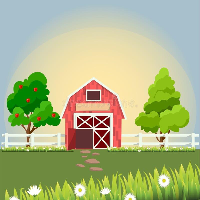 Vieille grange et champ vert illustration de vecteur