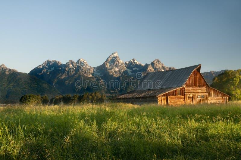 Vieille grange mormone dans le Tetons image stock